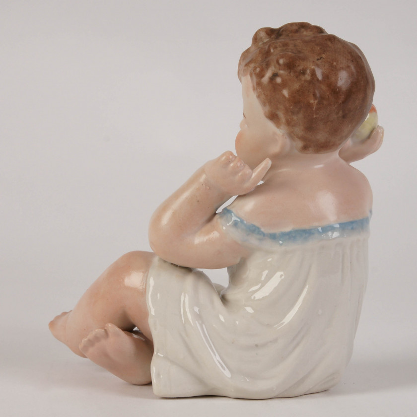 """Porcelain figure """"Baby with apple"""""""
