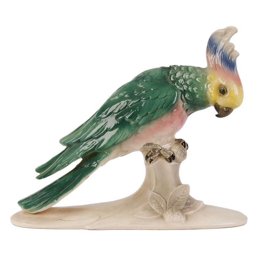 "Large faience figure ""Parrot"""