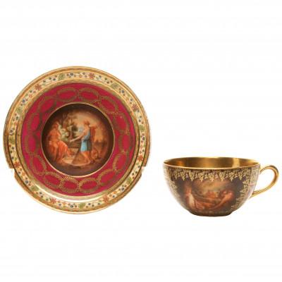 Porcelāna kafijas tasīte ar apakštasīti