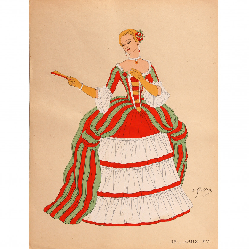"Drawings ""Costumes of French eras"" (10 pieces)"