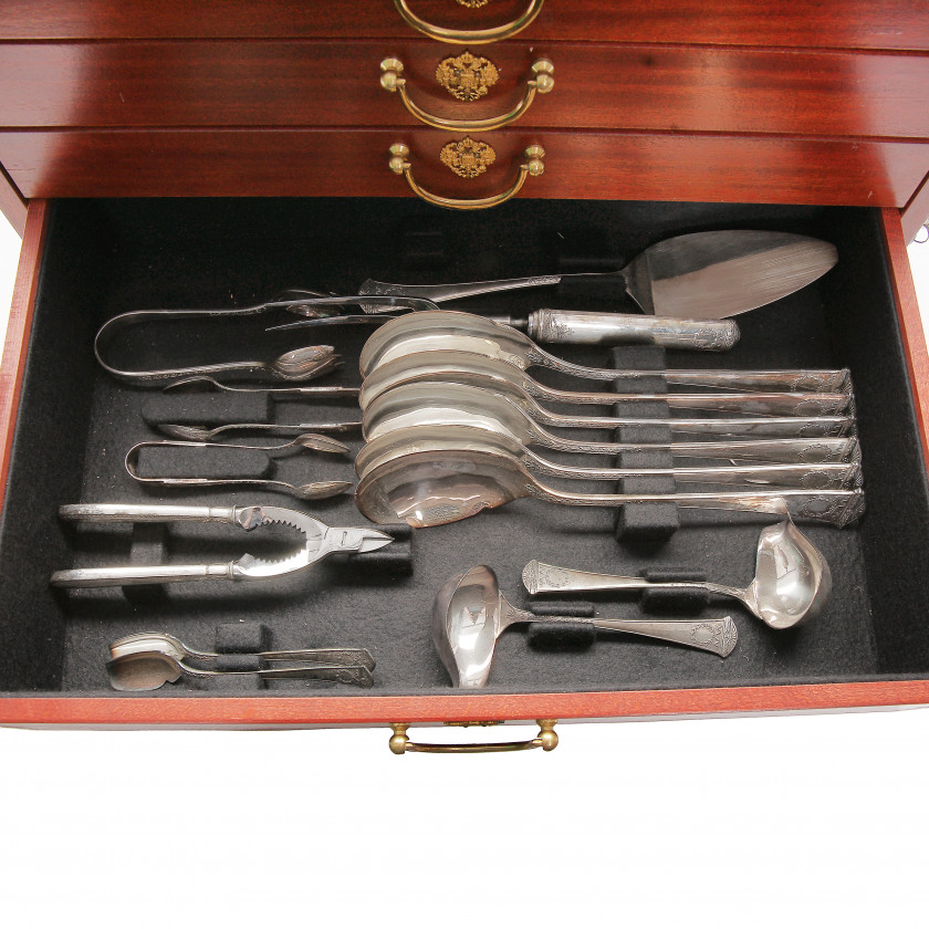 Silver flatware service for 12