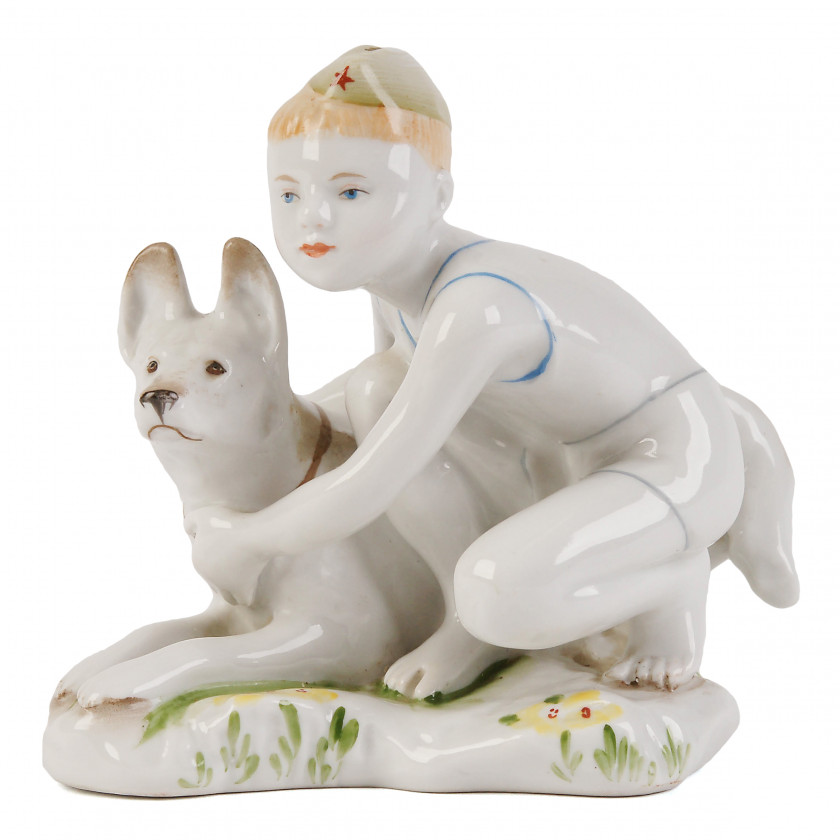 """Porcelain figure """"Young border guard with a dog"""""""