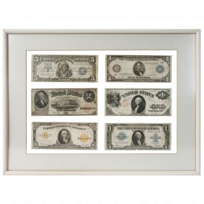 Sešu kolekciju amerikāņu banknošu komplekts
