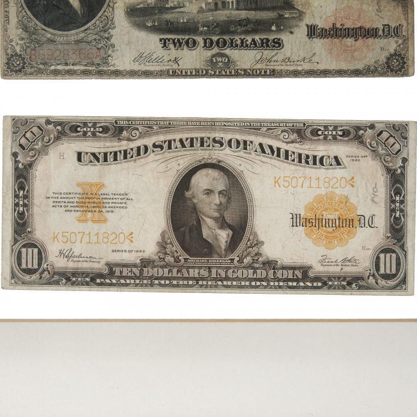 Set of six collectible American banknotes