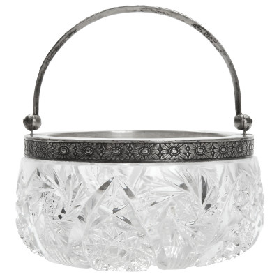 Crystal candy-bowl with silver
