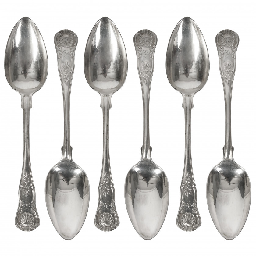 Set of silver tablespoons, 6 pcs.