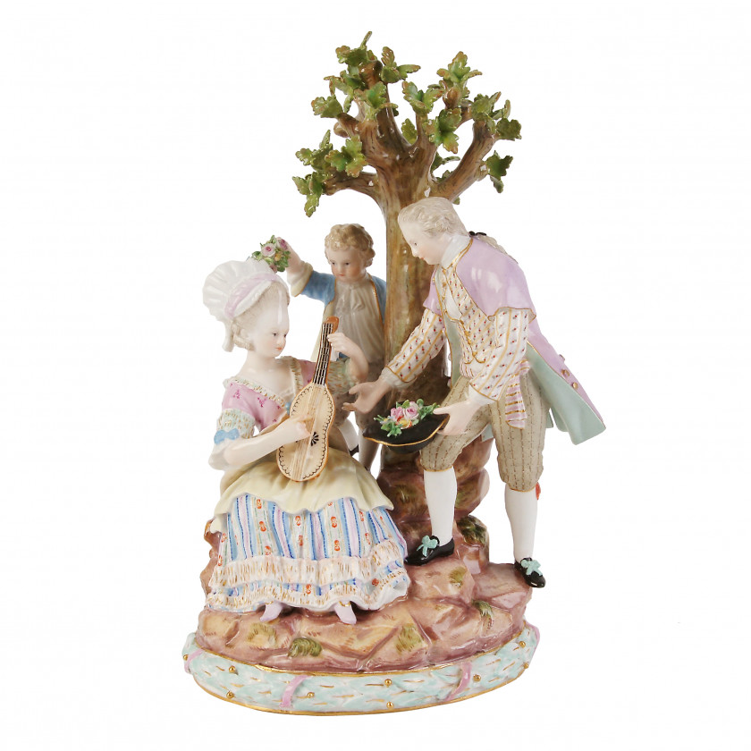 "Porcelain composition ""Gardeners under the tree"""