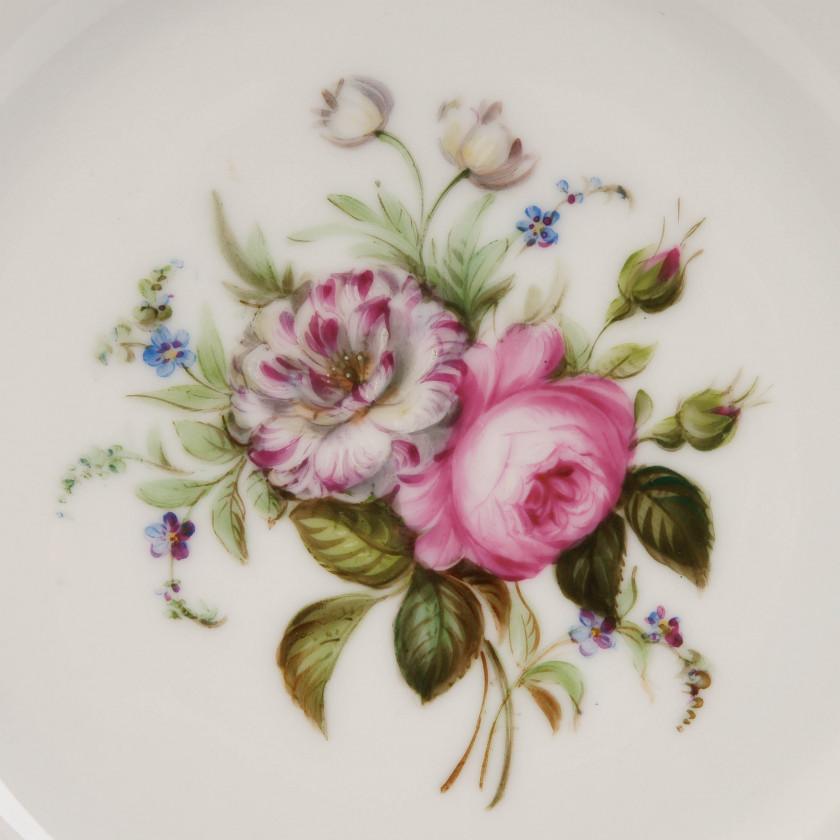 """Porcelain decorative plate """"Flowers"""""""