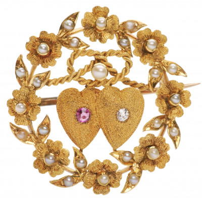 Gold brooch with ruby, diamond and pearls