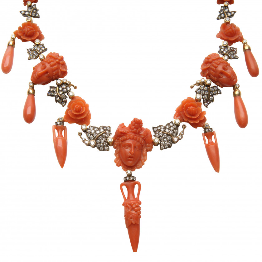 Gold necklace with corals and diamonds