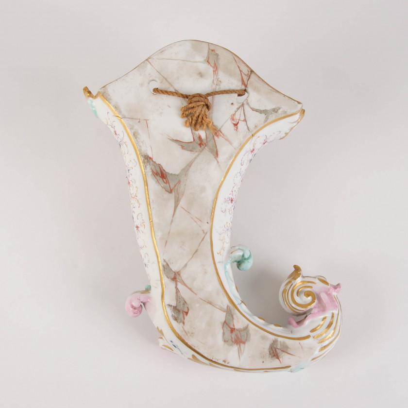 "A pair of porcelain wall vases ""Cornucopias"""