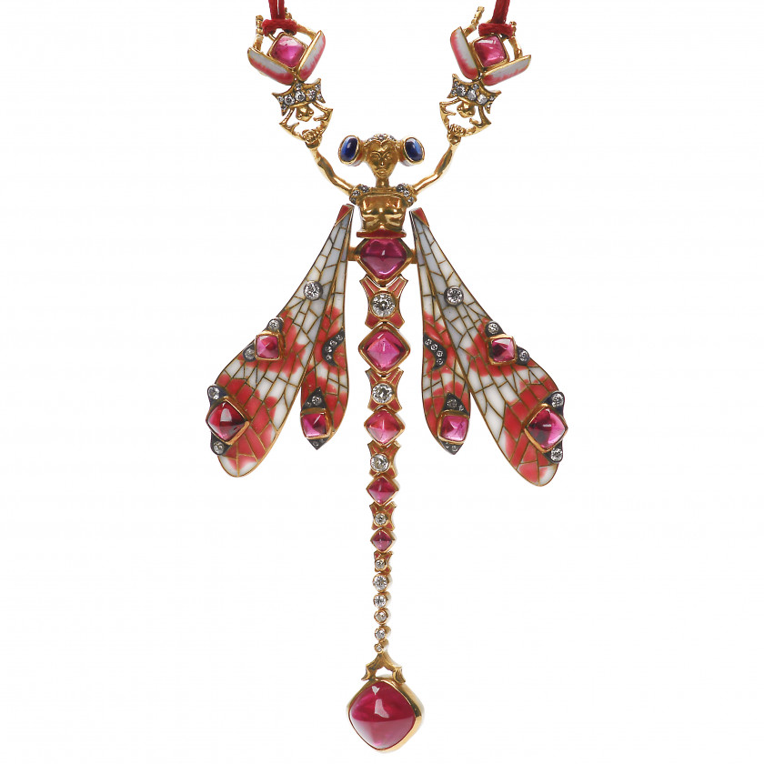 "Gold necklace with rubies, diamonds and sapphires ""Dragonfly women"""