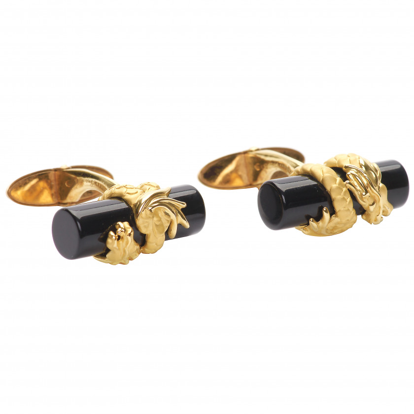 "Gold cufflinks Carrera y Carrera ""Dragons"""