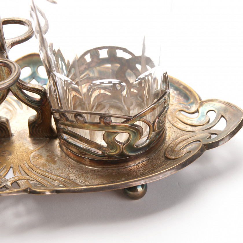 Silver plated set for vinegar and oil