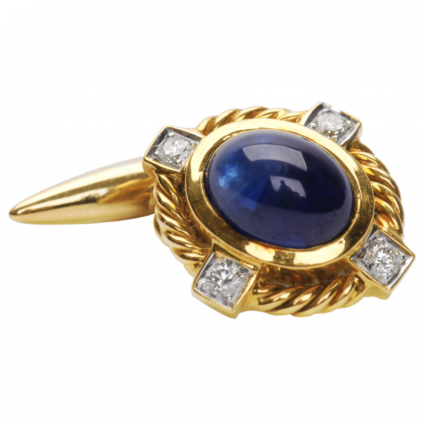 Gold cufflinks with sapphires and diamonds