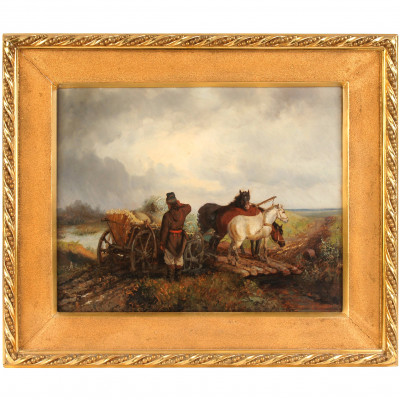 """Painting """"A peasant with a harvest cart"""""""