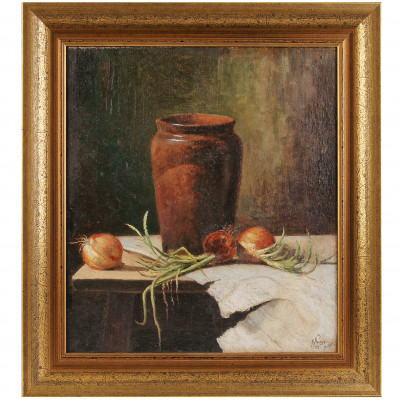 "Painting ""Still life with jug and onions"""