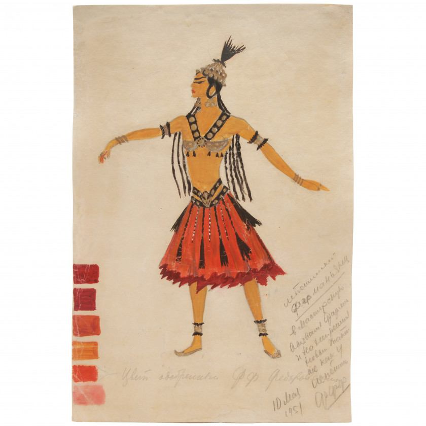 "Costume design for Polovtsian girl for the opera ""Prince Igor"""