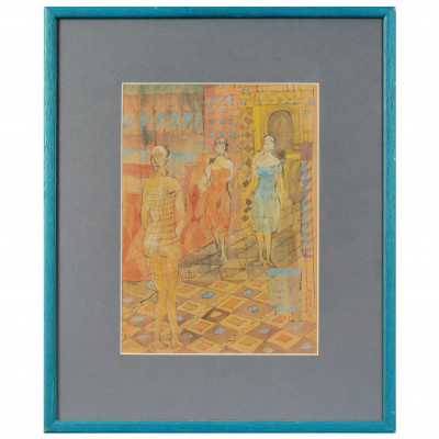 "Watercolor ""Three ladies"""