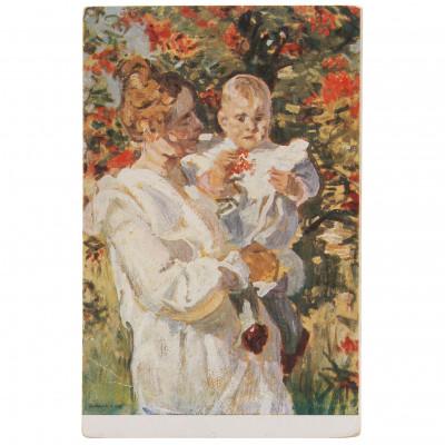 "Postcard ""J. Rozentāls - Mother with child"""