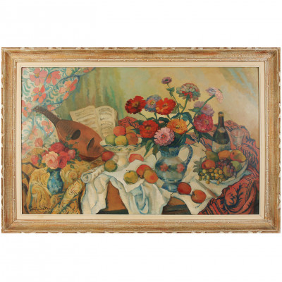 "Painting ""Still life with flowers and fruits"""