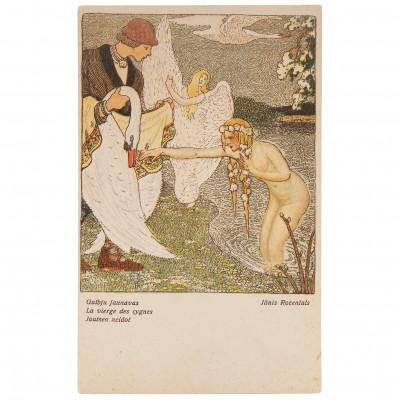"Postcard ""J. Rozentāls - Swan virgins"""