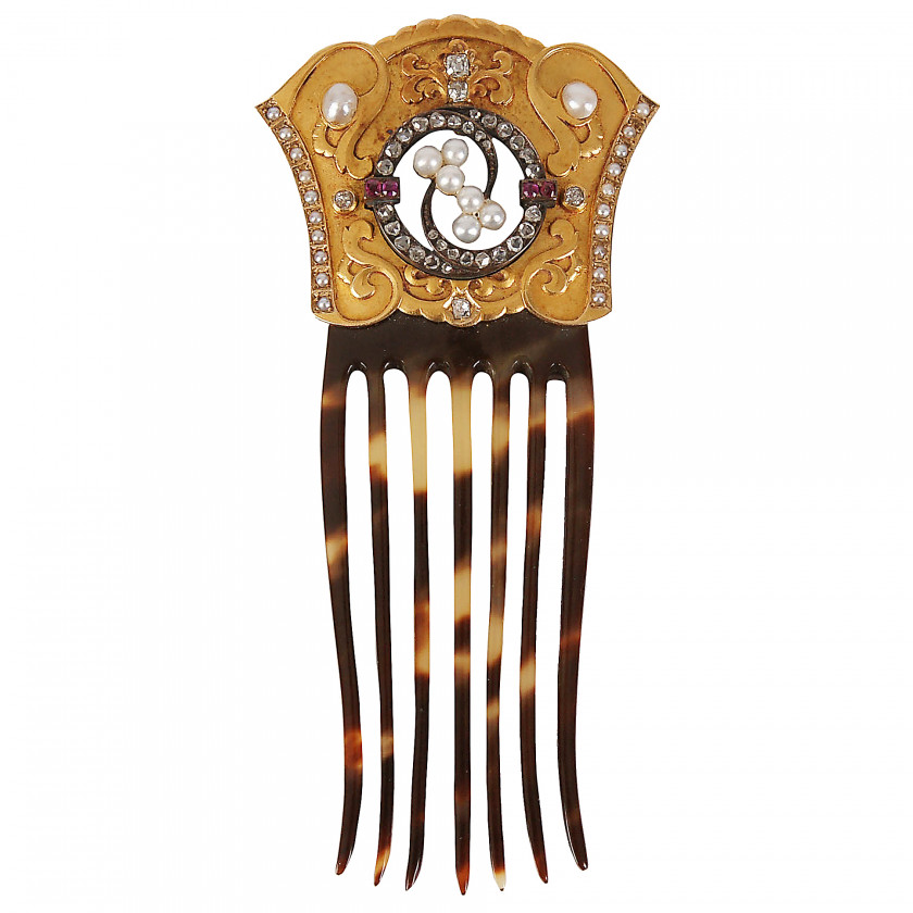 Gold comb with diamonds, rubies and pearls