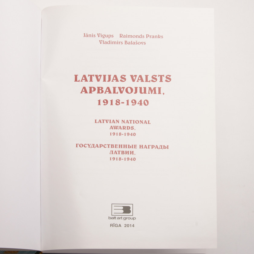 "Book ""Latvian national awards. 1918 - 1940"""
