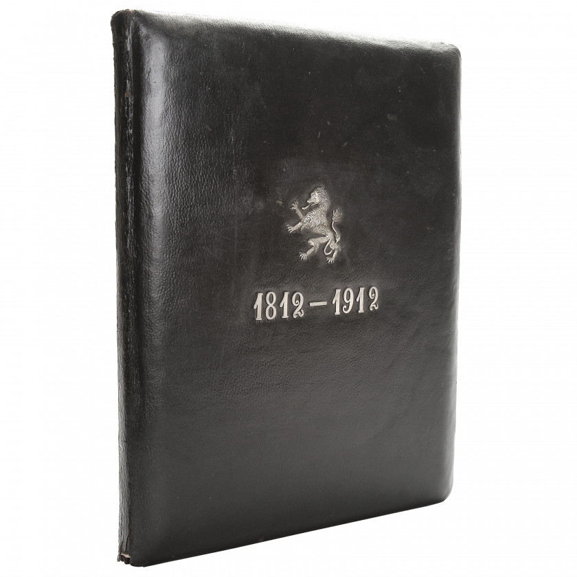 Leather folder with an anniversary date 1812 - 1912